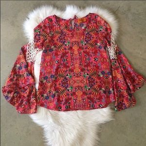 🌵Anthro Floral Boho Flare Blouse💐